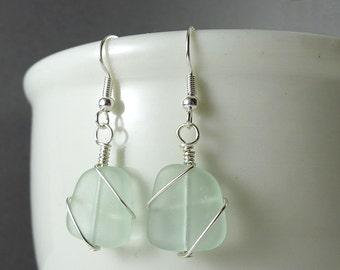 Sea foam seaglass earrings wire wrapped jewelry sea glass jewelry sea glass earrings glass beads sterling silver handmade beaded jewelry