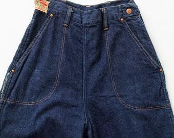 1950s side zip jeans,  flannel lined denim,  Kitty Carson high waist pants