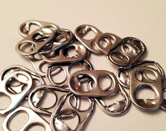 100 Silver Pop Tab, Soda Tab, Aluminum Can, Pop Tops, Soda Tops, Recycled and Upcycled, Pull Ring, Pull Tabs