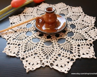 Crochet Doilie - Ecru Lace Round Doily - Table Topper - Crochet Home Decor - Table Centerpiece -  Hand Crocheted Cyprus Gift - Ready To Ship