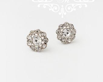 Wedding Jewelry Wedding Bridal Earrings Bridesmaids Earrings Flower girl earrings Rhinestone flower earrings