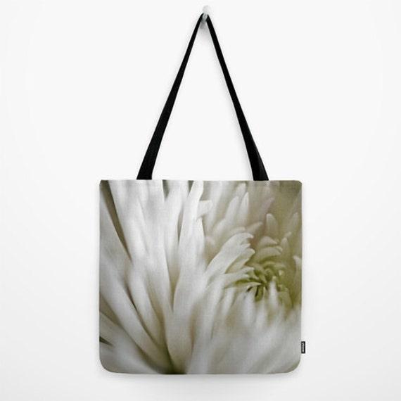 White Flower Tote, Neutral Colors, Pretty Gym Bag, Reusable Tote, Beach Bag, Feminine Tote, Library Bag, Book Tote, Flower Gym Bag