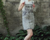 SALE 80s Gray Acid Wash Denim Overall Skirt Dress