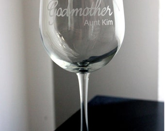 The Fairy Godmother etched wine glass -- Wand and stars along with personalization - Can be adjusted for mother, grandmother, aunt, etc.