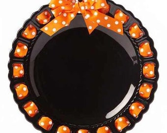 Black Round Plate ~ Prissy Plate ~ Ribbon Plate Halloween Home Decor Black and Orange Plate Kitchen Decor Home Decor