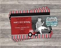 "Printable Red Tractor Birthday Invitation, ""Start Your Tractor"" boys invite, #721 Digital file"