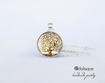 Tree of life Klimt pendant, The Tree of Life Gustav Klimt Necklace, Klimt necklace, Art Jewelry, gifts for artists, 1 inch, Keychain cs05