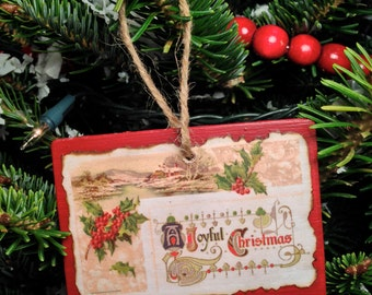 Vintage Christmas Postcard Ornament #004