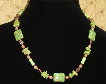 Spring Green - Magnesite with Lime Jade and Carnelian necklace.