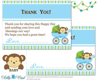 Boy Monkey Thank you Card Printable for Baby  Boy Shower or Birthday DIY Brown Green, Stroller - aa26bs22