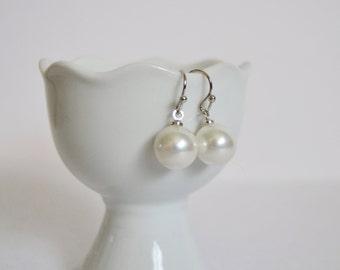 White Pearl Drop Earrings, Bridesmaid Earrings, Bridesmaid Gift Elegant Dangle Earrings,  Handmade, Pierced or Clip Gorgeous Luster