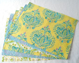 Large Cloth Placemats - Set of 6 - Yellow Blue Green Ikat- Variety, Assorted, Mismatched - Reversible