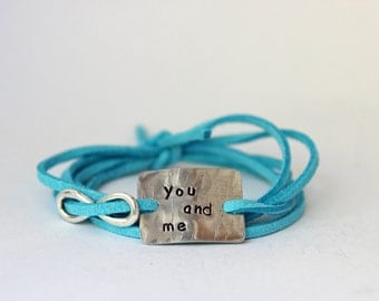"""handstamped quote bracelet with infinity charm, """"you and me"""", anniversary gift, christmas gift for mom, mothers day,  wrap bracelet"""