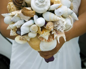 Seashell bouquet, Wedding bouquet, Alternative Bouquet, Beach Wedding, Beach wedding flowers, Tropical bouquet, Destination wedding