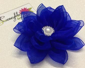 Bride Hair Clip-Bride Head Piece-Cobalt Blue Hair Clip-Bridal Hair Piece-Bridesmaid Hair Clip-Blue Hair Clip-Blue Flower Bridal Hair Clip