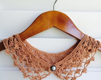 Copper Misty Crocheted Peter Pan Collar, Handmade, For Her, Gift for Her, Gift Ideas, For Mom, AtelierMariaBonita