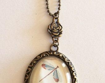 Long necklace bronze color medallion dragonflies