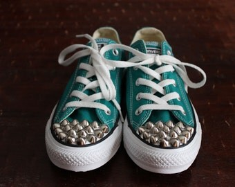 Studded Converse Teal Low Tops