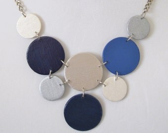 Modern geometric wooden necklace- in blue jean, navy blue, pearl, silver color-modern, contemporary,minimalist handmade jewelry-eco friendly