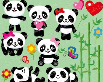 Panda Clipart/Cute Panda clipart / Baby Panda clip art and background paper set (CG066) /panda baby shower party idea/ INSTANT DOWNLOAD