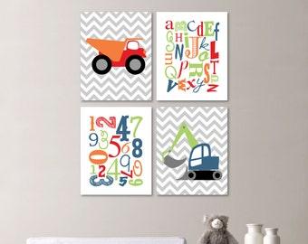 Baby Boy Nursery Art Print - Chevron Construction Nursery Prints - Alphabet Nursery Prints - Nursery Decor -  You Pick the Size (NS-506)