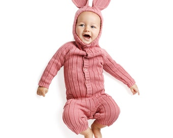 BUNNY SUIT for Baby and Toddler - Unique Handmade Woven Cotton Pink Rabbit Kid's Cozy Romper - Designer Bunny Costume - Blamo - Gift