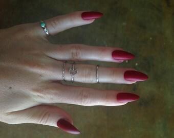 24 Matte Red nails, red stiletto nails, Matt press on nails, stiletto nails