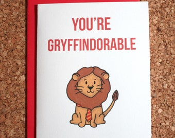 Harry Potter Card Gryffindor / You're gryffindorable / Harry Potter birthday card, Valentine, anniversary, love