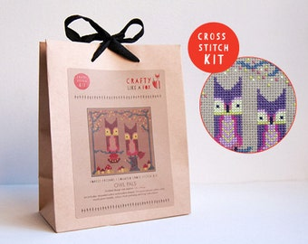 Owl Pals modern cross stitch kit - includes stranded cotton embroidery floss, aida fabric, needle, chart and instructions