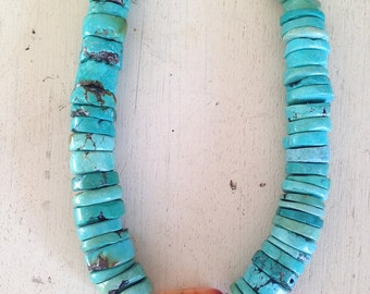 Chunky Turquoise and Carnelian Necklace