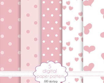 Paper pink collection-set of paper for scrapbooking