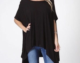 Ladies Tunic Top Black Oversized Top Boho Top Plus Top