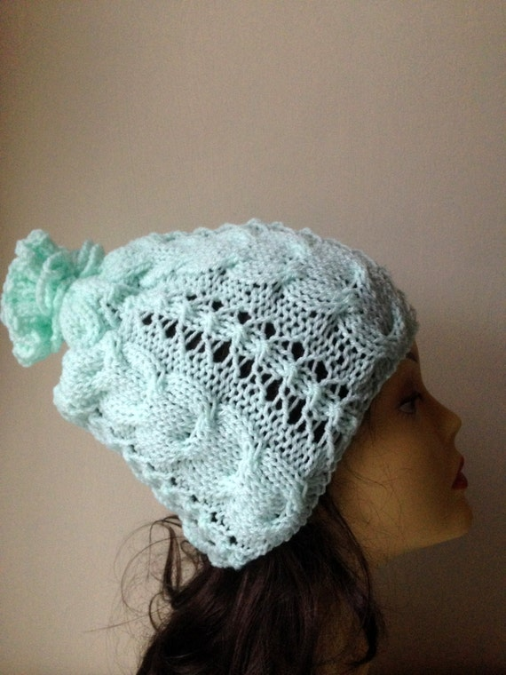 Mint Green Hand Knitted Hat, Slouchy beanie hat, slouchy mint green cableknit hat, hand knit women men hat, chunky slouchy knitted hat