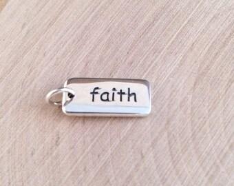 Faith Charm, Faith Pendant, Sterling Silver Faith Charm, Religious Charm, Religious Pendant, Christian Charm, Christian Pendant, PS0113
