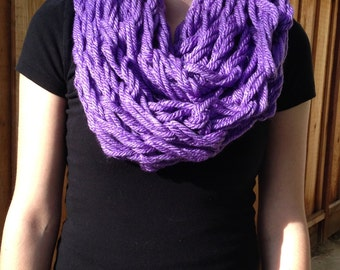 Arm Knit Infinity Scarf; Handmade Scarf; Knitted Scarf; Lavender Infinity Scarf; Lavender Infinity Scarf; Lavender Scarf