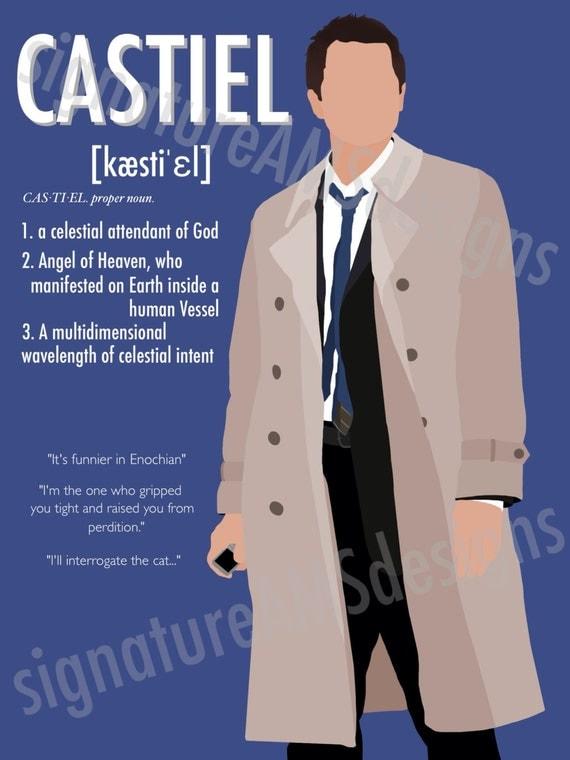Minimalist Digital Artwork of SUPERNATURAL CHARACTER - Castiel. ( 11.7x16.5 inches / A3 )