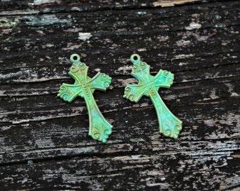 Hand Patina Cross Pendants, Turquoise Cross Pendants, Brass Cross Charms, 2pcs