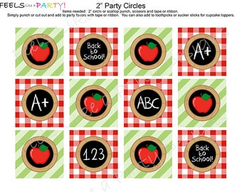 Back to School Cupcake Toppers - Instant Download
