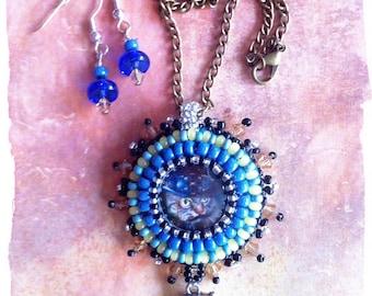 """Steampunk cat """"Sir Scott """" pendant & earrings"""