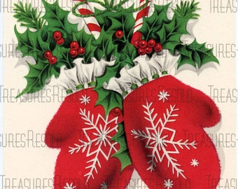 Snowflake Mittens Christmas Card #67 Digital Download