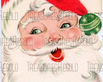 Retro Santa Claus Christmas Card #154 Digital Download