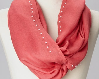 Coral Infinity Scarf with Hadnsewn Pearls