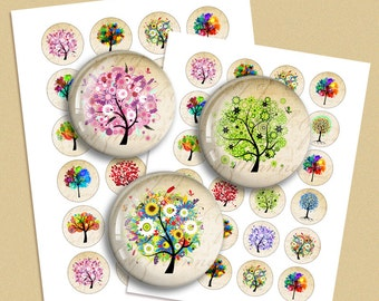 Colorful Trees Digital Collage Sheet  1.5 inch 1 inch 30mm 35mm Circle images for Bottle caps, Pendants