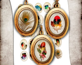 Vintage Feathers  - Digital Collage Sheet Oval Images 30x40mm, 22x30mm, 13x18mm, 28x18mm for Cabochons Printable Ovals Instant Download