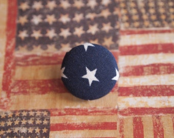 Blue and white Independence Day 4th fourth of July fabric covered buttons (size 60, 40, 32, 20, or 18)