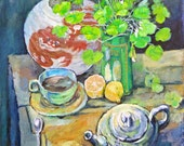 Irish Saying: Life is Like a Cup of Tea, print in 2 sizes, painting by Ray Sokolowski.