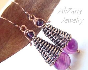 Purple Rain Drops Earrings – Unique Earrings – Entirely Handmade - Purple Agates