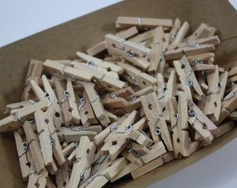 25 - Natural Mini Wooden Clothespins - Tiny Clothes Pins - Clothes Pegs - Small Clothes Pins - Wedding Supplies - Craft Supplies - Photos