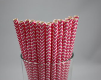 "Bright Pink and White Chevron Paper Straws - 7.75"" - hot pink and white - white and bright pink - baby shower  - birthday party ideas"