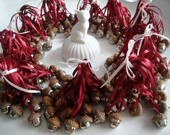150 Real Acorns Bells. Choose your Color(s)! 36 Colors Available. Rustic Ornaments, Natural, Woodland, Waldorf Decorations